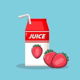 Saftverpackungsbox erdbeere symbol logo