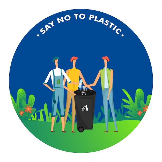 Sag nein zu plastik, männer werfen plastik in den mülleimer, um die umwelt zu verschmutzen