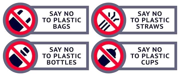 Sag nein zu plastik: sticker zum bedrucken