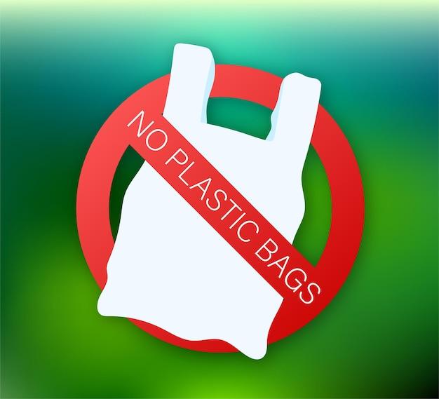 Sag nein zu plastiktüten poster. die kampagne zur reduzierung der verwendung von plastiktüten zu setzen. vektorgrafik auf lager