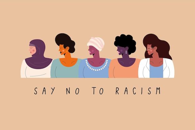Sag nein zu rassismus nachricht fünf personen