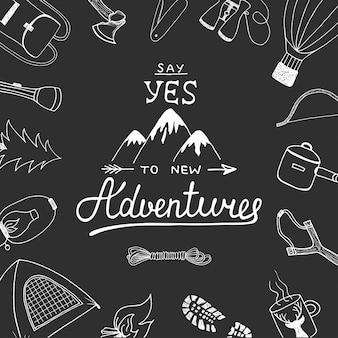 Sagen sie ja zu neuen abenteuern mit camping-kritzeleien