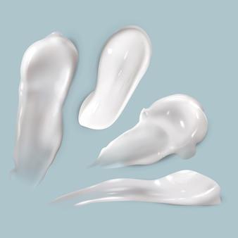 Sahne verschmiert. realistische kosmetische weiße cremige tropfen hautpflegeprodukt lotion dicke glatte abstrich isolierte textur