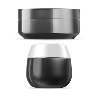 Sahneglas. kosmetische cremebehälter schwarze plastikschablone, isoliert. gesichtspeeling-paket leer. runde, glänzende butterverpackung, kleine packung. cremekanister für das gesicht