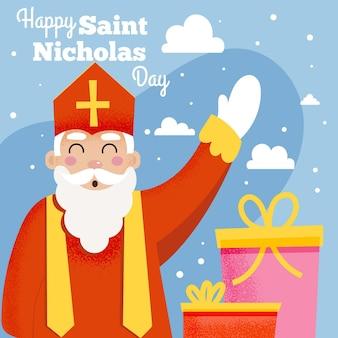 Saint nicholas tag in flachem design