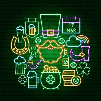 Saint patrick day neon-konzept. vektor-illustration der urlaubsförderung.