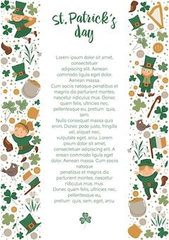 Saint patrick day rahmen mit kobold, kleeblatt lokalisiert auf weißem hintergrund. irisches feiertags-themenorientiertes banner oder einladung mit platz für text. niedliche frühlingskartenschablone.