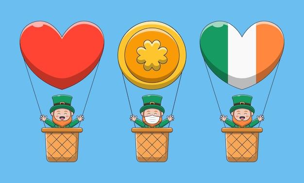 Saint patrick tag. karikaturcharakter-kobold im heißluftballon