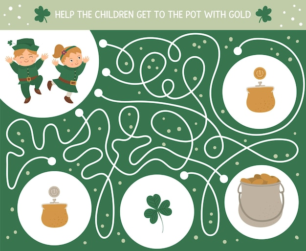 Saint patricks day labyrinth für kinder. irische feiertagsaktivität im vorschulalter. frühlingsrätselspiel mit niedlichen kindern, kleeblatt, münzen. helfen sie den kindern, mit gold in den topf zu kommen.