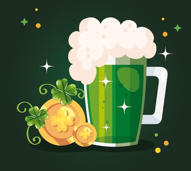 Saint patricks day mit bier und dekoration