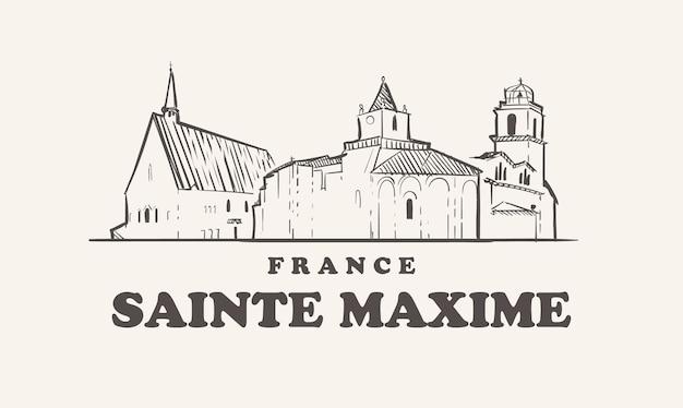 Sainte maxime skyline illustration design