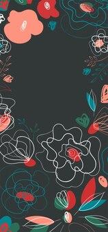 Saisonale einladung mit mohnblumen für printdesign. banner- und flyerdesign. sommergarten-linie-kunst-muster. millefleur-trend auf dem land. dunkler hintergrund.
