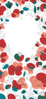 Saisonale einladung mit mohnblumen für printdesign. banner- und flyerdesign. sommergartenmuster. millefleur-trend auf dem land. weißer hintergrund.