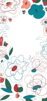 Saisonale einladung mit wilden mohnblumen für saisonales design. banner- und flyerdesign. strichzeichnungen sommerwiese muster. millefleur-trend auf dem land. weißer hintergrund.