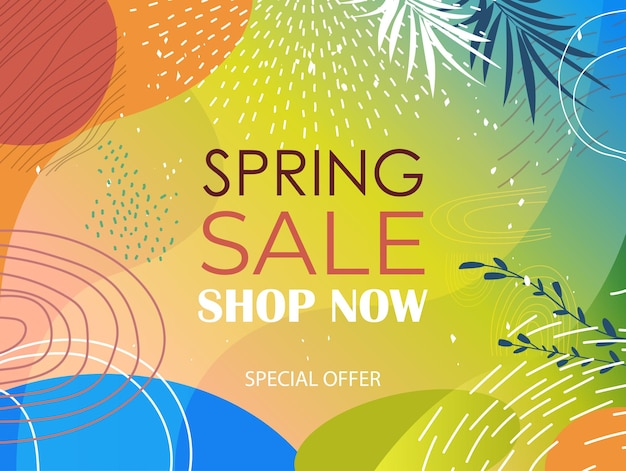 Saisonale frühlingsverkauf banner flyer oder grußkarte mit dekorativen blättern und handgezeichneten texturen horizontale illustration