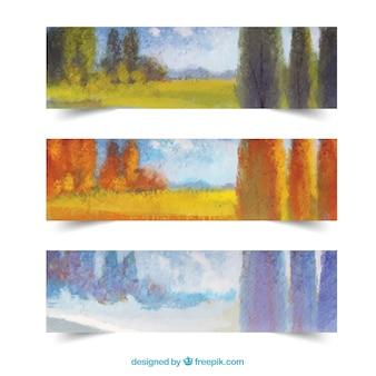 Saisonale landschaft banner