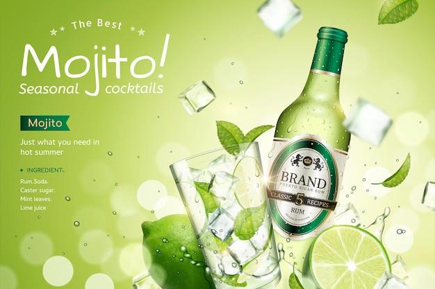 Saisonale mojito-cocktail-werbung mit erfrischenden früchten und durch die luft fliegenden eiswürfeln