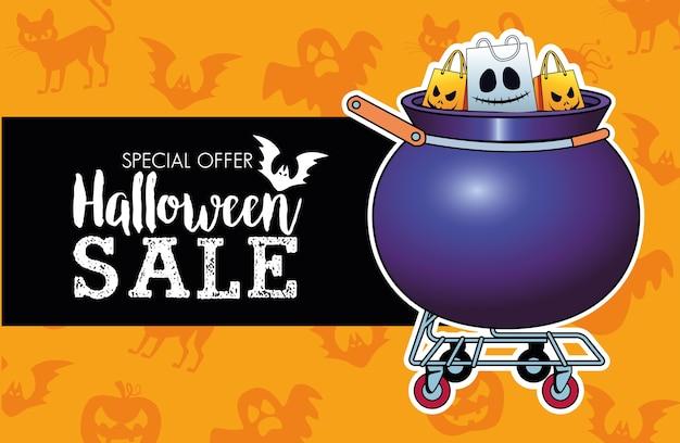 Saisonale plakate des halloween-verkaufs mit einkaufstüten im kesselwagen