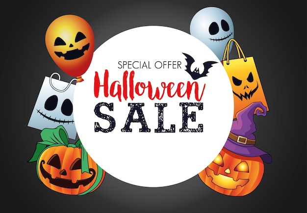 Saisonale plakate des halloween-verkaufs mit kreisförmigem rahmen und festgelegten gegenständen
