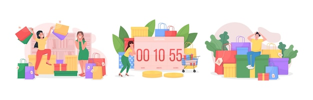 Saisonale verkauf rush flat concept set. online einzelhandel. countdown zum sonderangebot im laden. shopaholic 2d-comicfiguren für das webdesign. kreative ideensammlung des schwarzen freitags