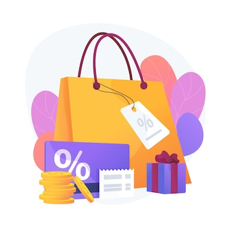 Saisonale verkaufsrabatte. geschenke kaufen, boutiquen besuchen, luxus einkaufen. preisnachlass gutscheine, spezielle urlaubsangebote. vektor isolierte konzeptmetapherillustration