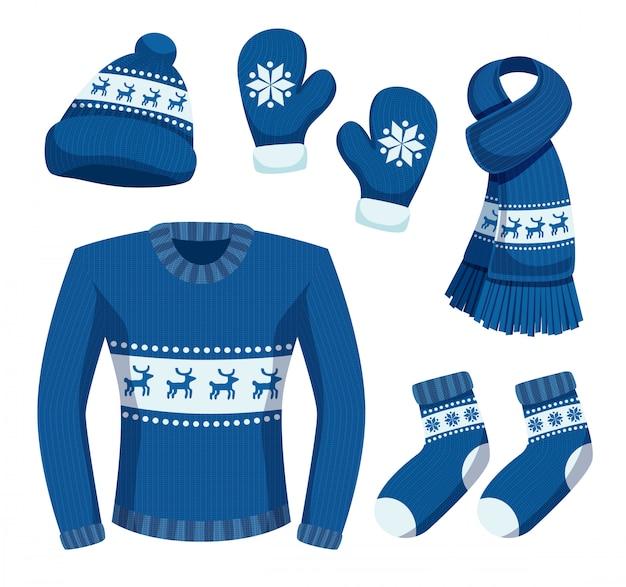 Saisonale winterkleidung mit isolierten bildern von stilvollen warmen kleidungsstücken mit schneeflocken und hirschillustration