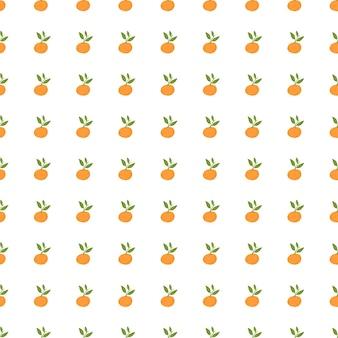 Saisonales nahtloses muster mit kleiner orangefarbener mandarinenverzierung