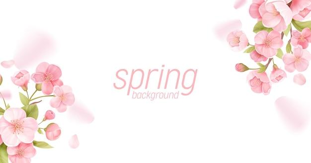 Sakura blüht realistische blumenfahne. kirschblütenvektor-grußkartendesign. frühlingsblumenillustrationshintergrund, exotische plakatschablone, gutschein, broschüre, flyer