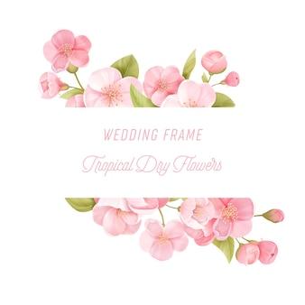 Sakura blüht realistische blumenfahne. kirschblütenvektorhochzeitskartendesign. frühlingsblumenillustrationshintergrund, exotische plakatschablone, gutschein, broschüre, flyer