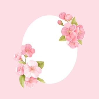 Sakura blüht realistische blumenrahmenfahne. kirschblütenvektorhochzeitskartendesign. frühlingsblumenillustrationshintergrund, exotische plakatschablone, gutschein, broschüre, flyer