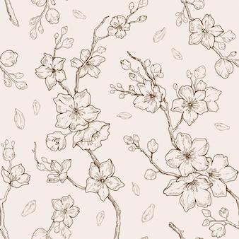 Sakura blütenmuster. nahtlose strichgrafik der kirschblume hand gezeichnetes muster
