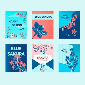 Sakura grußkartenentwürfe mit den besten wünschen. kreative postkarten mit blühenden blumen auf zweig. japan und frühlingstag konzept. vorlage für werbepostkarte oder broschüre