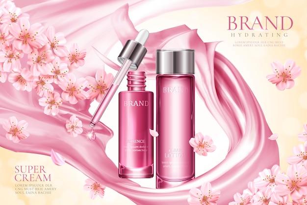 Sakura hautpflege-produktanzeigen mit rosa glattem satin und floralen elementen
