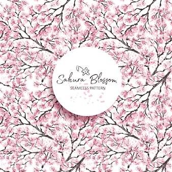 Sakura japan kirschzweig mit blühenden blumen. hand gezeichneter stil. nahtlos