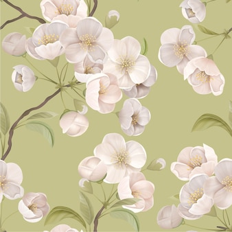 Sakura-nahtloses muster. weiß blühende kirschblüten mit blättern und zweigen auf grünem hintergrund. eleganter papier- oder textildruck, dekorative tapetenverzierung, botanische vektorillustration