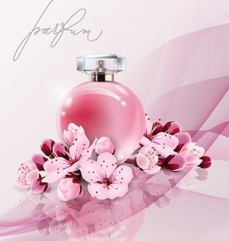 Sakura-parfümwerbung, parfüm des realistischen stils in einer glasflasche auf rosa hintergrund mit sakura-blumen. tolles werbeplakat für einen neuen duft