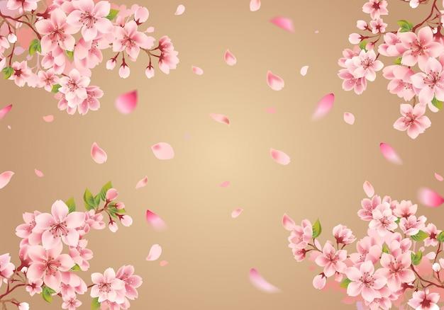 Sakura-rahmen auf goldenem hintergrund