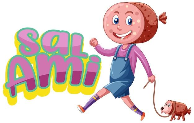 Salami-logo-textdesign mit salami-charakter