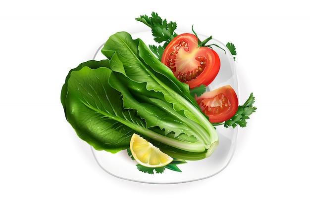 Salat, tomate und eine zitronenscheibe auf einem schneeweißen teller.