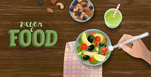 Salat und smoothie draufsicht banner vorlage. gesundes veganes frühstück. grüne obst- und gemüseschale. fitness diät ration frische vegetarische wohnung lag