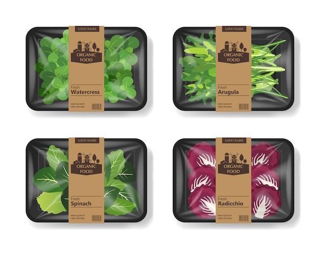 Salatblätter mit kunststoffbehälterbehälter mit zellophanabdeckung. retro design set. lebensmittelbehälter aus kunststoff. illustration.