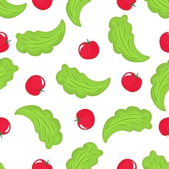 Salatblätter und rotes tomaten nahtloses muster. bio vegetarisches essen. wird für designoberflächen, stoffe, textilien und verpackungspapier verwendet.