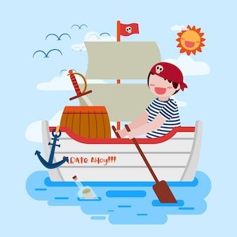 Salatjunge, der piratenschiff im meer, das zeichnen in der flachen vektorillustration des karikaturcharakterstils durchführt