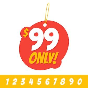 Sale 99 dollar bieten nur abzeichen-aufkleber-design im flachen stil. vektor-illustration