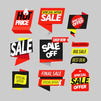 Sale banner label set