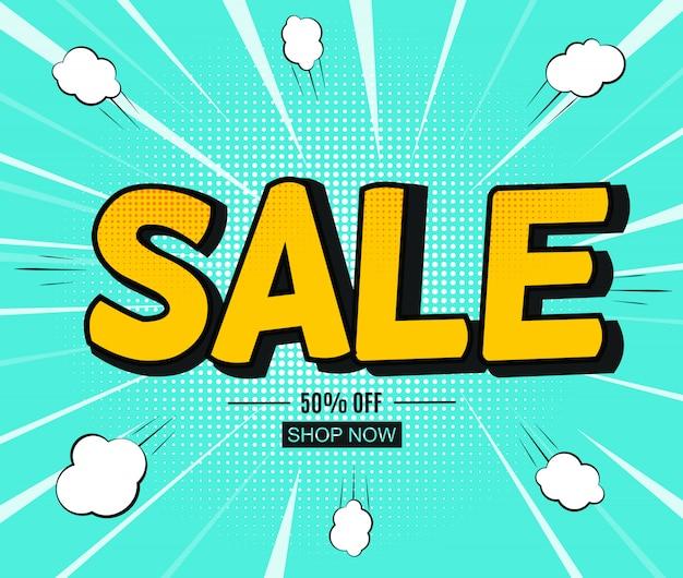 Sale-banner mit sprechblase im pop-art-stil