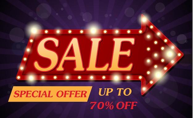 Sale banner und best offer design im retro-stil