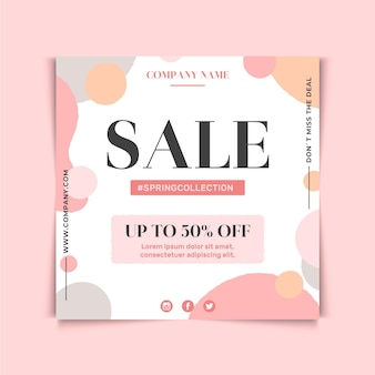 Sale discount square flyer design