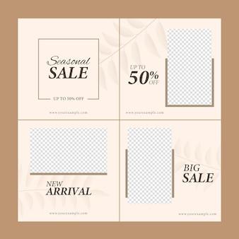 Sale post oder template design mit 50 % rabattangebot und kopienraum in vier optionen.