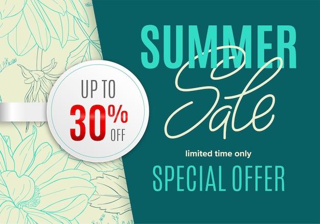 Sale-sommerbanner mit blumen-tintenskizze und weißem rundem aufkleber 30 prozent rabatt